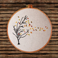 Autumn Tree cross stitch pattern| Thin tree golden leaf falling counted chart| Nature botanical design decor gift| Easy beginner design pdf