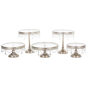 5-Piece Glass Top Crystal Cake Stand Set (Champagne)