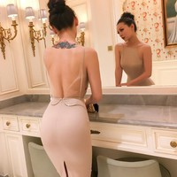 le palais vintage 2017 Summer Very Sexy Backless Diamonds Dress Sheath Pullover Type See Trough Mesh Fabric High Rise Sleevelss