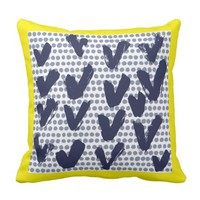 Modern Hearts and Blue Dots Yellow and Blue Throw Pillow