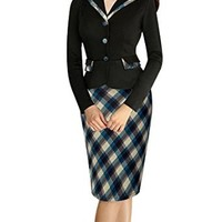 Senfloco Women's Vintage Long Sleeve Lapel Plaid Business Wear to Work Dress