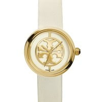 Tory Burch Reva Watch, Ivory Leather/gold-tone, 36 Mm