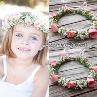 Fresh Flower crowns Flower girl wreath crown Baby Breath Headpiece Baby Breath halo, Flower girl crown fresh flower crown bridal flower Etsy