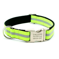 Reflective Dog Collar With Personalized Buckle - Neon Yellow