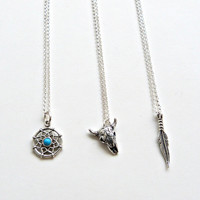 Silver Feather Charm Necklace Southwest Necklace Dream Catcher Feather Cow Skull necklace Country Girl Necklace