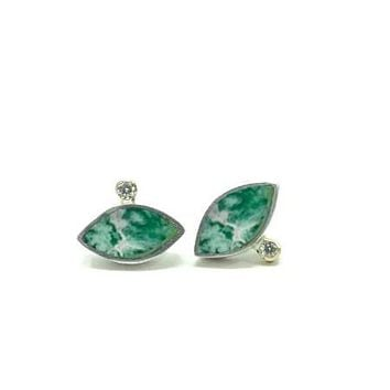 Geo Marquise Studs 14ky & Sterling Silver Chrysocolla