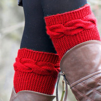 Knitted Boot Cuff  Woman  - Red Short Cable Knit Boot Cuffs. Short Leg Warmers. Crochet Boot Cuffs. Red Legwear, Winter, Christmast Gifts