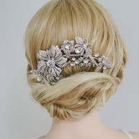 EVER FAITH® Bridal Silver-Tone Flower Bumble Bee Hair Comb Clear Austrian Crystal