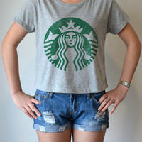 Starbucks Coffee classic vintage logo - women's Crop Top t shirt - sexy summer - M - L