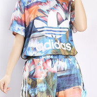 Summer Series Women Adidas Originals Flowers Print T-shirt Shorts Two pieces