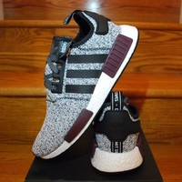 Best Online Sale Adidas NMD R1 Champs Exclusive Grey Burgundy BA7841 Boost Sport Running Shoes Classic Casual Shoes Sneakers