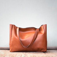 Caramel Brown Leather Shopper / Leather Tote / Shoulder Bag / Brown Leather Bag / Leather Bag / Women's Handbag