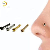 Stainless Steel Nose Ring Bone Silver&Gold&Black Plated Nose Studs Piercing Jewelry0.8*6*2MM