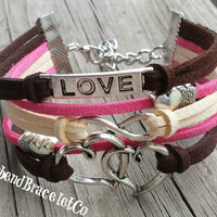 Heart Charm Bracelet - Love Bracelet - Infinity Bracelet - Heart Jewelry - Valentines Day - Gift for her - Infinty Jewelry - Pink and Brown