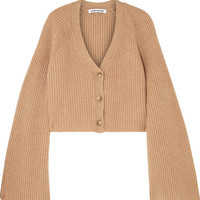 Elizabeth and James - Cabot cropped ribbed merino wool and cashmere-blend cardigan