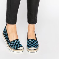Love Moschino Checkerboard Woven Espadrille Flat Shoes