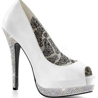 Fabulicious Bella Peep Toe Pumps in White