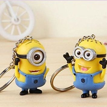 2pcs Despicable Me Minion Toy Rubber KeyChain figure