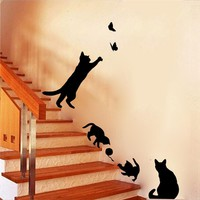 Cute cats playing wall stickers kids room decorations decals vinyl art animals poster