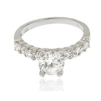 925 Sterling Silver Cubic Zirconia Round with Multiple Round Stones Engagement Finger Ring Set