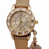 Gold and White Womens Watch w/ Rhinestones Swan Dangle Charm Gold Leather Band