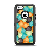 The Blue & Orange Abstract Polka Dots Apple iPhone 5c Otterbox Defender Case Skin Set