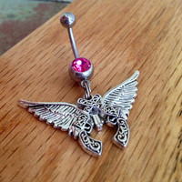 Gun belly ring crossed pistols angel wings country girl belly ring  country twin gun naval ring gun and wing gunpowder cowgirl western