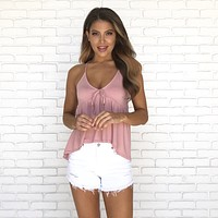 Babydoll Jersey Tank Top in Pink