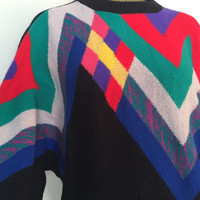 Epic 80s Sweater, Vintage 1980s Dolman Sleeve Sweater, Asymmetrical Colorful Design, Crew Neck Tacky 80s Party, Winter Sweater, Halloween L