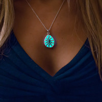 Aqua Glowing Necklace - Glow in the Dark Jewelry - Glowing Drop - Glowing Pear pendant - Gifts for Her - Christmas Gifts - Holidays