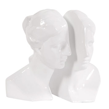 Male and Female in Glossy White - set of 2 bookends