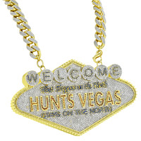 Welcome To Hunts Vegas Pendant 925 Silver Miami Cuban Chain Iced Custom 500+ Gr
