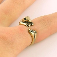 Animal Wrap Ring - Frog - Yellow Bronze - Adjustable Ring - keja jewelry