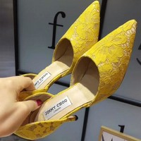 Jimmy Choo 2018 summer new hollow lace shoes pointed high-heeled shoes F-OMDP-GD yellow