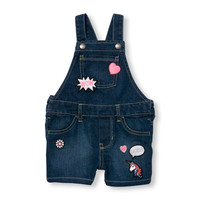Toddler Girls Emoji Patch Denim Shortalls | The Children's Place