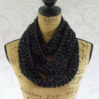 Ready To Ship Infinity Scarf Crochet Knit Skinny Black and Silver Glitter Sparkle Special Occasion Women's Accessories Eternity Fall Winter