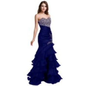 Sunvary Mermaid Sweetheart Prom Gowns Cocktail Party Dresses Long with Rhinestones- US Size 4- Royal Blue