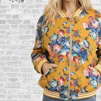 Quilted Floral Bomber Jacket - Mustard