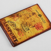 Handmade designer faux leather passport cover with decoupage retro pattern