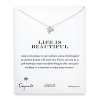 life is beautiful hummingbird necklace, sterling silver