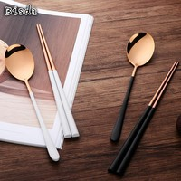 4 Sets High Quality 304 Stainless Steel Gold Cutlery Set Traditional Chopsticks and Spoon Flatware For Noodle/Sushi