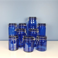 Vintage Cobalt Blue Glass Jars Set of 9 Clamp Lid Air Tight Canister Mason Jars Candy Jar Wedding Decor Farmhouse Decor Instant Collection