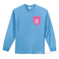 Monogrammed Long Sleeve Crewneck Stitched Pocket T-Shirt | Marley Lilly