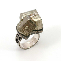 Pyrite Rock Ring Sterling Silver Retro by SwankMetalsmithing