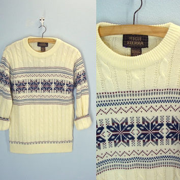 Vintage 70s Ski Sweater / Cableknit Snowflake Sweater / Ugly Christmas / Small