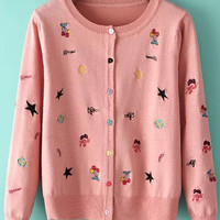Pink Embroidered Knitted Cardigans