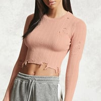 Distressed Cropped Sweater