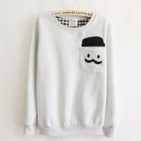 Grey Thickened Cashmere Fashion Doll Head Long-sleeved Sweater