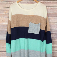 Out of the Blue Striped Sweater - Gray/Navy/Aqua/Camel/Ivory