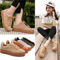 2016 Womens Platform Lace Up Flatform School Ladies Flat Trainers Creepers Shoes